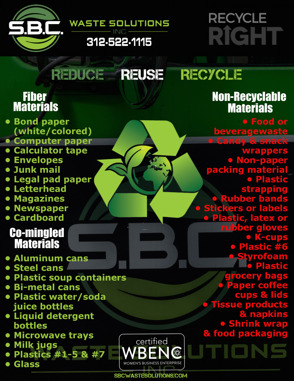 These are the recycling guidelines for SBC Waste Solutions in Chicago